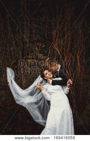 Bride's Veil Became Entangled In A Dry Ivy While Groom Hugs Her