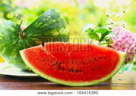 Red Ripe Cut Water Melon With Hydrangea Bouquet