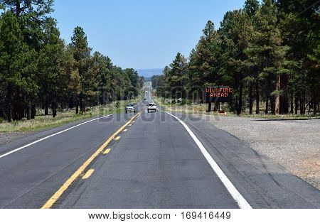 Arizona USA - july 7 2016 : the interstate to Grand Canyon