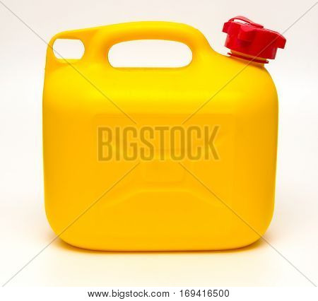 yellow plastic canister isolated on white background.