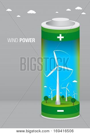 Landscape with wind farm inside a battery on gray background - Renewable Energy - Vector image