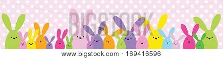 Easter banner. Easter bunny family. Design element.