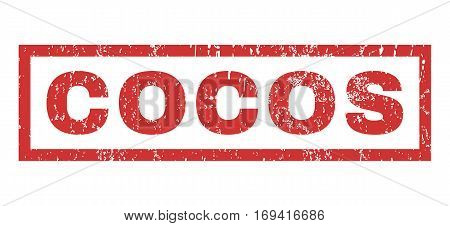 Cocos text rubber seal stamp watermark. Caption inside rectangular shape with grunge design and dirty texture. Horizontal vector red ink emblem on a white background.