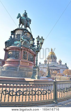 View of Saint Isaac's Cathedral and monument to Nicholas I in St.Petersburg Russia.