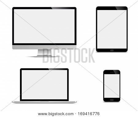 Realistic set of monitor laptop tablet smartphone - Stock Vector illustration