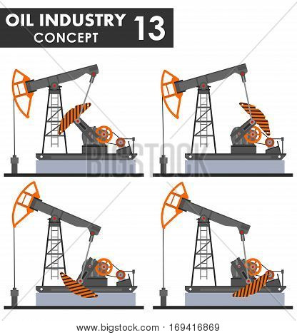 Detailed illustration of oil pumps isolated on white background in a flat style.