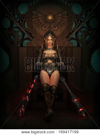 3D computer graphics of a female warrior with fantasy clothing and weapons
