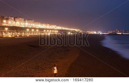 Brighton seafront at night