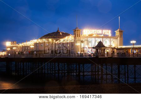 Brighton Pier at Night, Sussex, England, UK