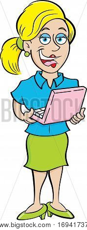 Cartoon illustration of a woman holding a laptop computer.