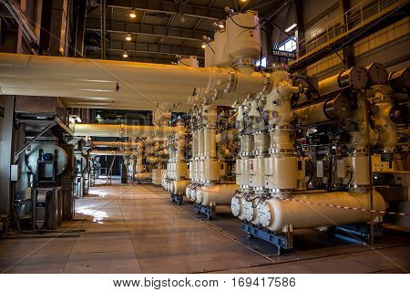 Novovoronezh, Russia - October 29, 2014: Complex gas-insulated switchgear inside sixth power unit of the  Novovoronezh Nuclear Power Plant