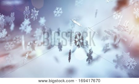 Ethereal Christmas background with falling snowflakes in assorted decorative patterns on a misty atmospheric winter landscape.  3d Rendering