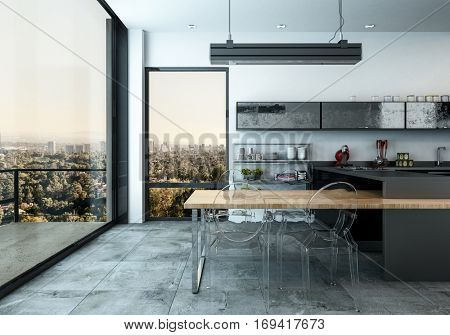 Spacious modern open plan fitted kitchen with glass door leading to an external patio overlooking the city, 3d rendering