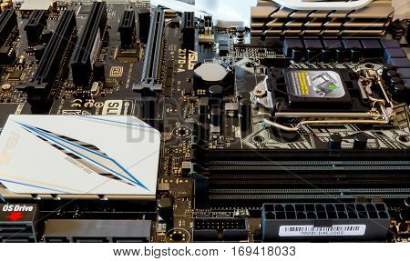 GOMEL, BELARUS - SEPTEMBER 15, 2016. Motherboard ASUS Z-170-A. ASUSTeK Computer Inc. ( marketed as ASUS) is a Taiwanese multinational computer hardware and electronics company.