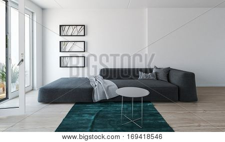 Modern comfortable grey day bed sofa in a living room interior with throw rug in front of large plate glass windows and sliding door onto a patio, 3d rendering