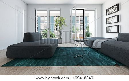 Bright light apartment living room interior with large sofas on a blue green rug and windows overlooking high-rise buildings. 3d Rendering.