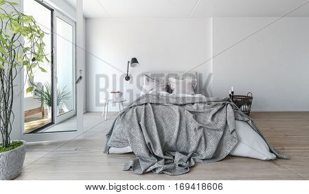 Modern bedroom interior with rumpled bedclothes on a double bed in front of bright sliding glass patio doors with a tall houseplant in the foreground, 3d rendering