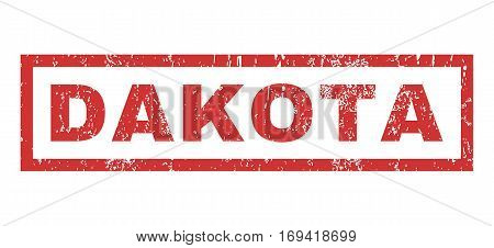 Dakota text rubber seal stamp watermark. Caption inside rectangular shape with grunge design and dirty texture. Horizontal vector red ink sticker on a white background.