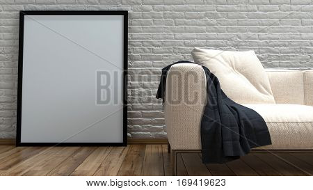 Large empty simple rectangular picture frame leaning against a rough rustic white painted brick wall alongside a cream colored couch on a hardwood floor, close up 3d rendering