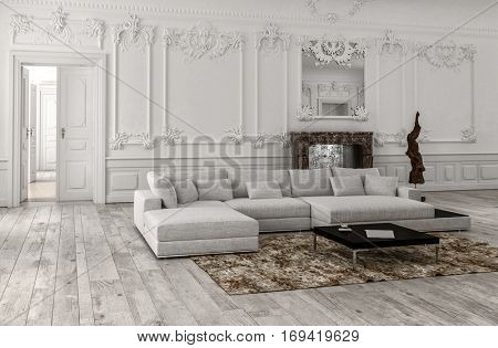 Neutral monochrome white classical living room interior with panelling and stucco mouldings, a mirror over a marble fireplace and comfortable modular couch and day bed, 3d rendering