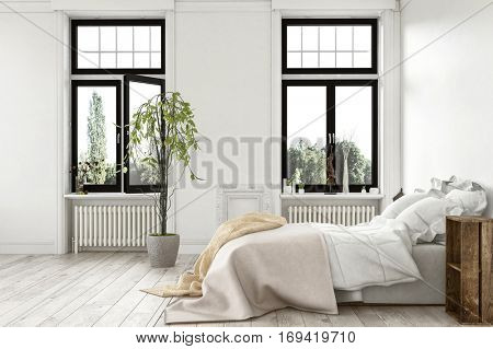 Bright light modern luxury bedroom with tall windows overlooking a garden and monochrome white wood floor and walls, bed with rug throws in a 3d Rendering