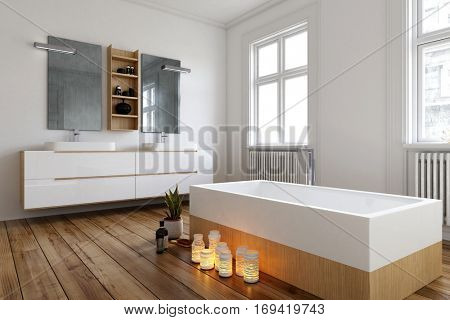 Romantic bathroom setting with burning candles alongside a modern rectangular bathtub in a large spacious bright room with radiators and wall-mounted vanity, 3d rendering