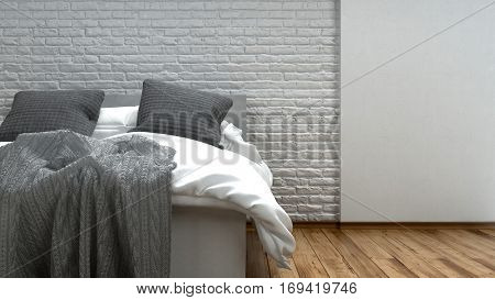 Unmade grey and white bed in a modern loft with two candelabras alongside on a wooden floor with textured brick wall, 3d rendering