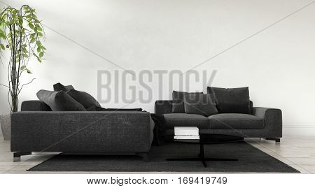 Modern charcoal grey modular lounge suite with cushions and houseplant against an off white blank wall in a living room interior. 3d Rendering
