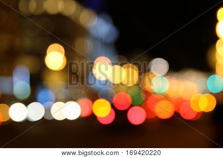 City lights at night abstract defocused background