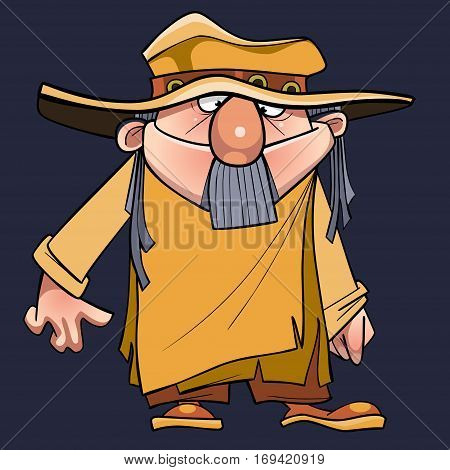 cartoon man with a beard in a robe tunic and hat