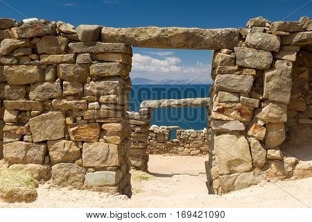 Ancient Inca ruins above Lake Titicaca Bolivia