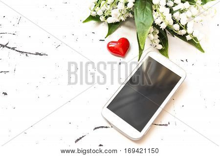 Smart Phone With Flowers, Love Concept