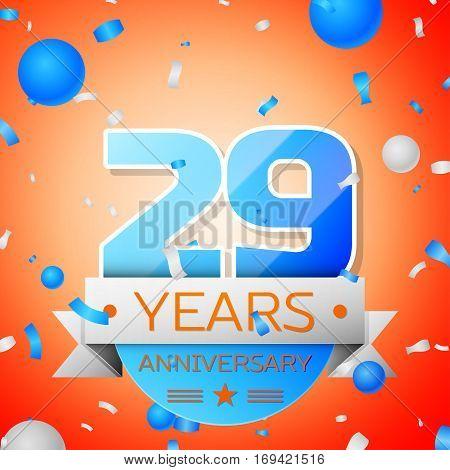 Twenty nine years anniversary celebration on orange background. Anniversary ribbon