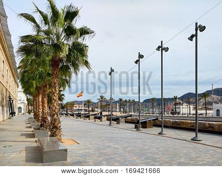 Old cannons on the Promenade of Cartagena. Cartagena is a Spanish city and a major seaport and naval base. Region of Murcia. Spain