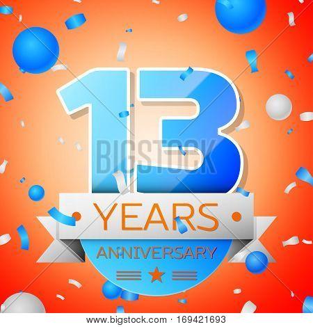 Thirteen years anniversary celebration on orange background. Anniversary ribbon