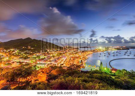 Marigot, St. Martin town skyline.
