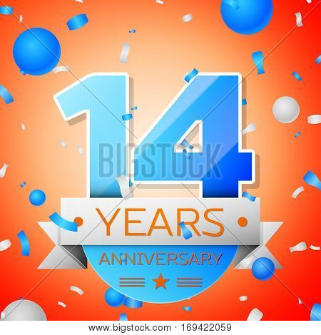 Fourteen years anniversary celebration on orange background. Anniversary ribbon