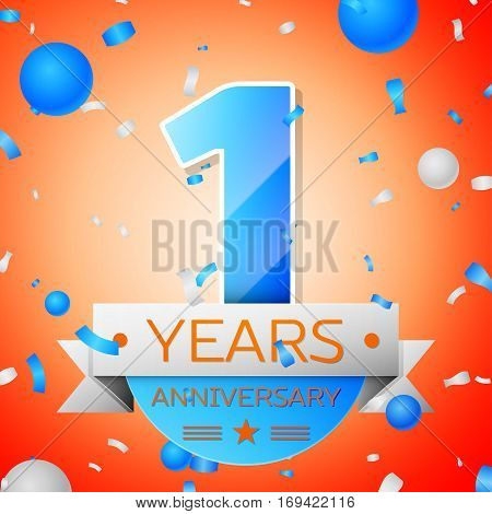 One years anniversary celebration on orange background. Anniversary ribbon