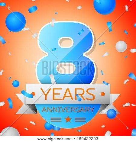 Eight years anniversary celebration on orange background. Anniversary ribbon