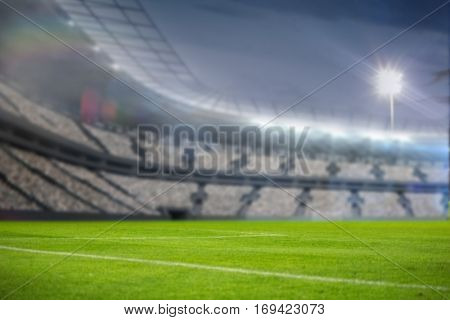Digitally generated image of illuminated stadium copy space against sky 3d
