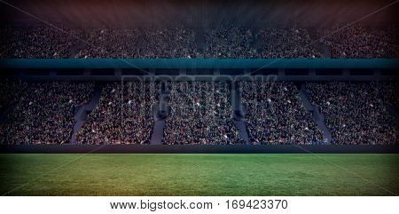 Digital image of crowded soccer stadium copy space 3d