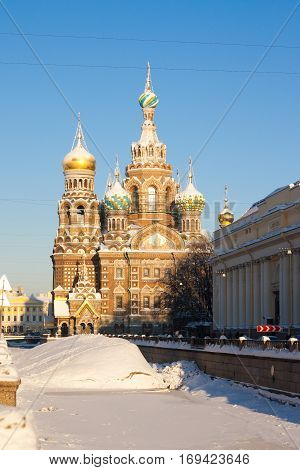 Church of savior on Spilled Blood in St. Petersburg Russia. poster
