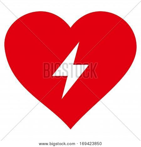 Heart Power flat icon. Vector red symbol. Pictograph is isolated on a white background. Trendy flat style illustration for web site design logo ads apps user interface.