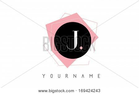J Letter Pastel Geometric Logo Design with Round and Rectangular Shapes.