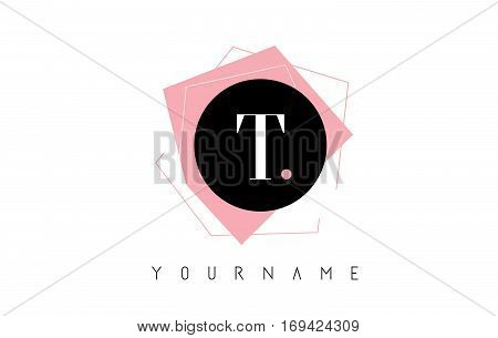 T Letter Pastel Geometric Logo Design with Round and Rectangular Shapes.