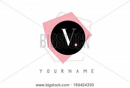 V Letter Pastel Geometric Logo Design with Round and Rectangular Shapes.