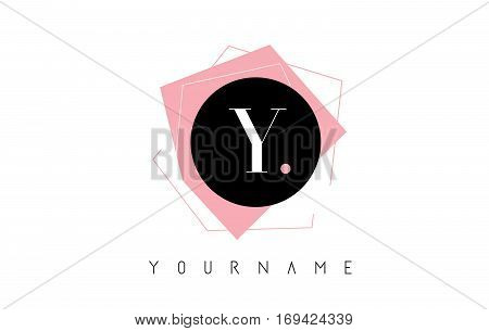 Y Letter Pastel Geometric Logo Design with Round and Rectangular Shapes.