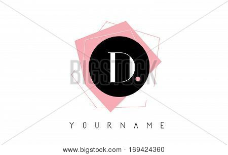 D Letter Pastel Geometric Logo Design with Round and Rectangular Shapes.