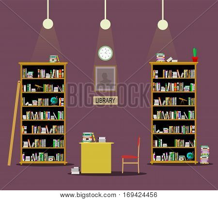 Library room flat illustration. Studying concept image. Vector