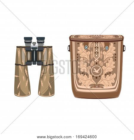 Vector binocular with leather bag isolated on white background. Flat style design illustration.